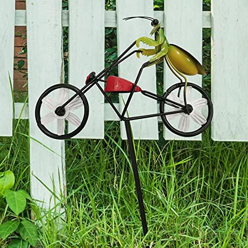 Metal Vintage bicicleta viento Spinner, Frog On Bike Spinner Metal Garden Decoración, Animal Stake Sculpture Wind Catchers para decoración de patio y jardín