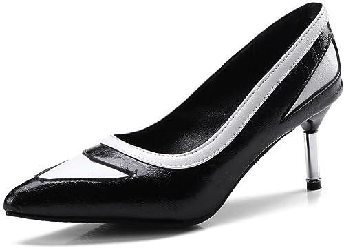 GAOLIXIA Femmes Pointues Pointues Pompes Talons Hauts PU Fashion Couleur Block Travail Carrière Chaussures Cour Chaussures Taille 34-43  magasin pas cher
