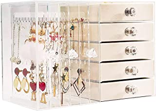 SUVOIT Jewelry Box for Women with 5 Drawers, Hanging Velvet Jewelry Organizer for Earring Bangle Bracelet Necklace and Rin...