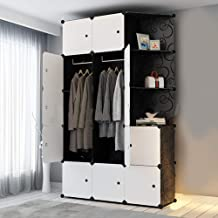 Cube Wardrobe Cabinet Cloth Closet DIY Modular Clogthing Storage Organizer Plastic 6 Cubes 2 Hanging Section 3 Corner Portable for Clothes Shoes Toys Bags Books