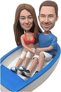 Personalizado personalizado barco pastel de bodas Topper Bobble Head arcilla estatuilla basada en clientes foto cumpleaños...