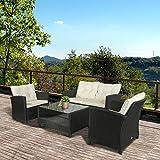 EIVD Juego de muebles de patio de 4 piezas para exteriores de mimbre con cojines y mesa de café, juego de sofá de conversación con mesa de vidrio templado y estante de almacenamiento (color negro)