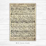 Music sheets custom canvas print. Custom canvas art print. Cotton...