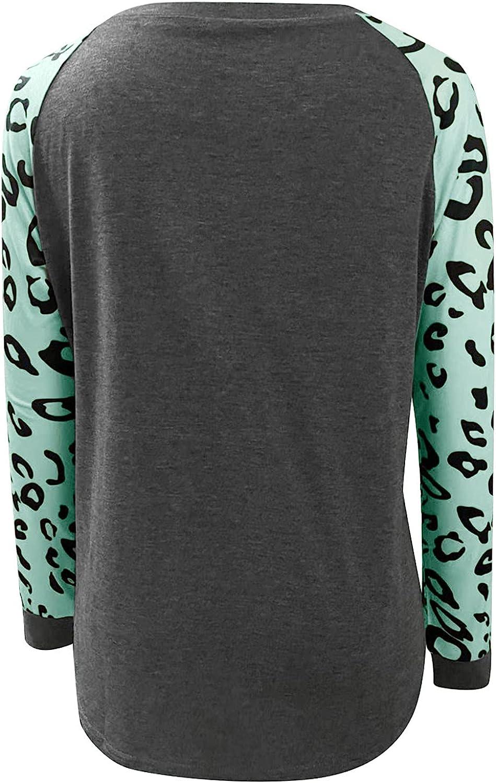 MASZONE Sweatshirts for Women Crewneck Vintage Leopard Print Color Block Splcing Sweatshirt Casual Long Sleeves Pullover