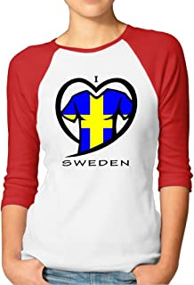 I Love Sweden Women's Geek 100% Cotton 3/4 Sleeve Athletic Baseball Raglan Sleeves T-Shirt
