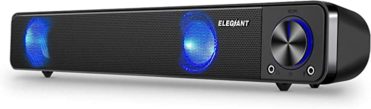 Computer Speakers, ELEGIANT Wired Computer Sound Bar, Stereo USB Powered Mini Soundbar Speakers for PC Tablets Laptop Desktop Projector Cellphone, Black
