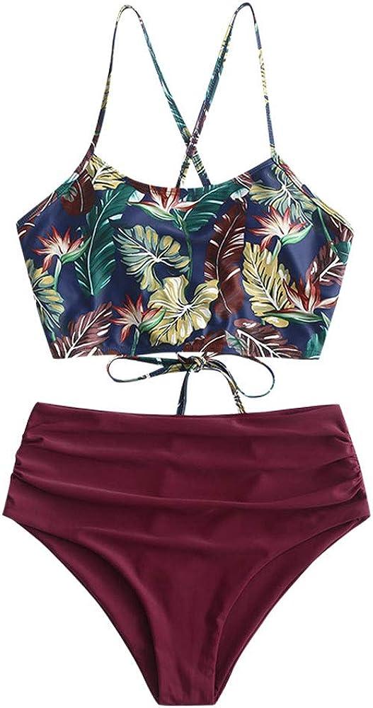 ZAFUL Leaf Print Criss Cross Tankini Ruched High Waisted Swimsuits Palm Floral Swimwear