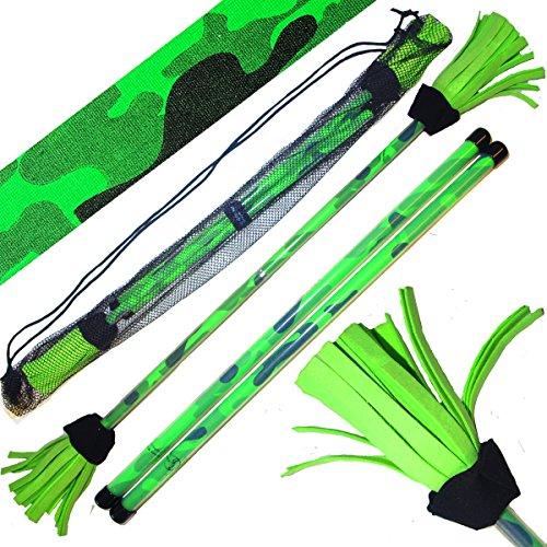 Commando Profi Flowerstick Set (UV-Grun) mit 2mm Silikon-Körper und Handstäbe! Flames N Games Flower Stick Set mit super Starke Fiberglaskern Ideal Für Kinder und Erwachsene.