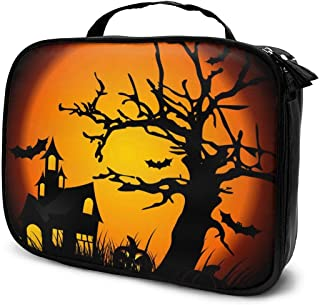 Cosmetic Bag Halloween Castle Tree Makeup Bag Lightweight Portable Cosmetic Case Water Resisted Cosmetic Makeup Bag Durable Organizer Makeup Boxes With Insulated Pockets For Travel