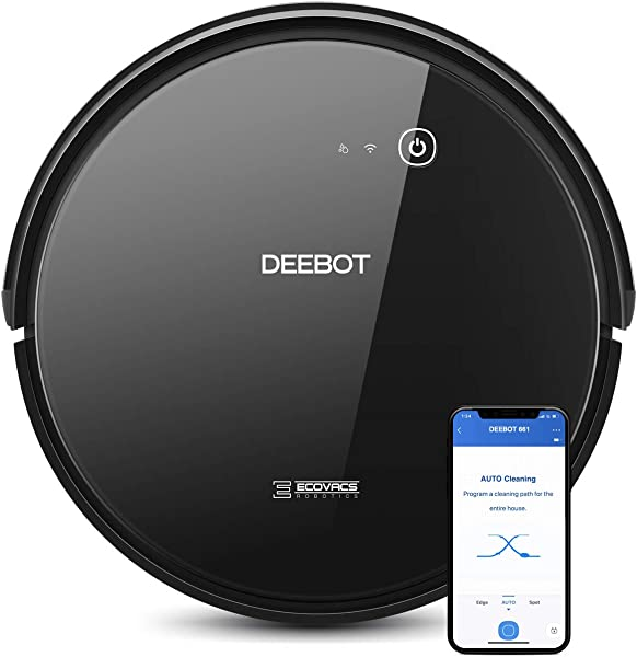 ECOVACS DEEBOT 661 Convertible Vacuuming Or Mopping Robotic Vacuum Cleaner With Max Power Suction Up To 110 Min Runtime Hard Floors Carpets App Controls Self Charging Quiet