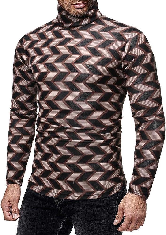 Men's Hip Hop Turtleneck Sweaters Plaid Long Sleeve Warm Knitwear Autumn Winter Sexy Pullovers Undershirts