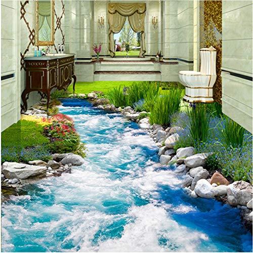 Benutzerdefinierte 3d Bodenbelag Wandtapete Gras Bodenbelag Wasser 3D Bodenfliesen Malerei Wandbild PVC Selbstklebende Tapete 200x140cm