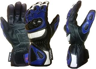 MBSmoto GW Cobra Leder Motorrad Touring Racing lange Schutzhandschuhe (blau, XL)