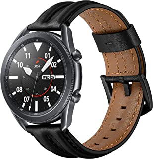 VICARA バンド Compatible with Galaxy Watch 3 45mm バンド 高級レザー 留め金 高耐久性 交換ベルト オシャレ スーツ スタイル 快適 簡単取付 特別な設計(ブラック)