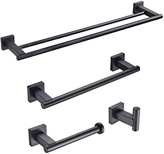 KLXHOME Matte Black 4-Piece Bathroom Hardware Kit Set Stainless Steel Wall Mount - Includes Double Towel Bar, Hand Towel R...