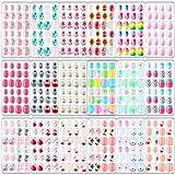 432 Uñas Postizas de Niños Uñas Falsas Artificiales Cortas a Presión Uñas Postizas Cortas de Cubierta Completa de Niños para Decoración Uñas Niños (Tema de Flamingo)