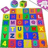 KIDIZ Spielmatte 86 tlg. Spielteppich Puzzlematte Kinderteppich Schutzmatte Kinderspielteppich Schaumstoffmatte ABC Lernteppich Puzzleteppich Puzzle Zahlen Buchstaben Maß je Matte ca. 31,5 x 31,5cm
