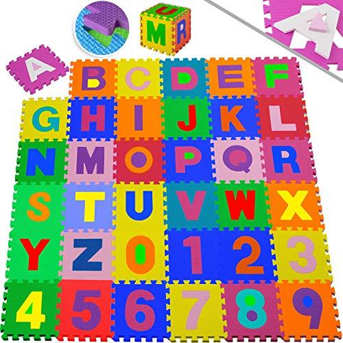 KIDIZ® Spielmatte 86 tlg. Spielteppich Puzzlematte Kinderteppich Schutzmatte Kinderspielteppich Schaumstoffmatte ABC Lernteppich Puzzleteppich Puzzle Zahlen Buchstaben Maß je Matte ca. 31,5 x 31,5cm