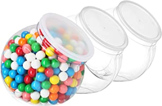 Pack of 3 - Empty Gumball Style Containers With Lids – Plastic Kitchen Countertop Jars - Wide mouth Opening For Easy Refill - Great For Candy, Homemade Cookies, Cake, Snacks - Food Safe (3 Pack 48 Oz)