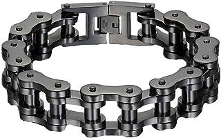 VPKJewelry Men's Black Stainless Steel Motorcycle Bike Biker Link Chain Bracelet Heave Wide 19 mm