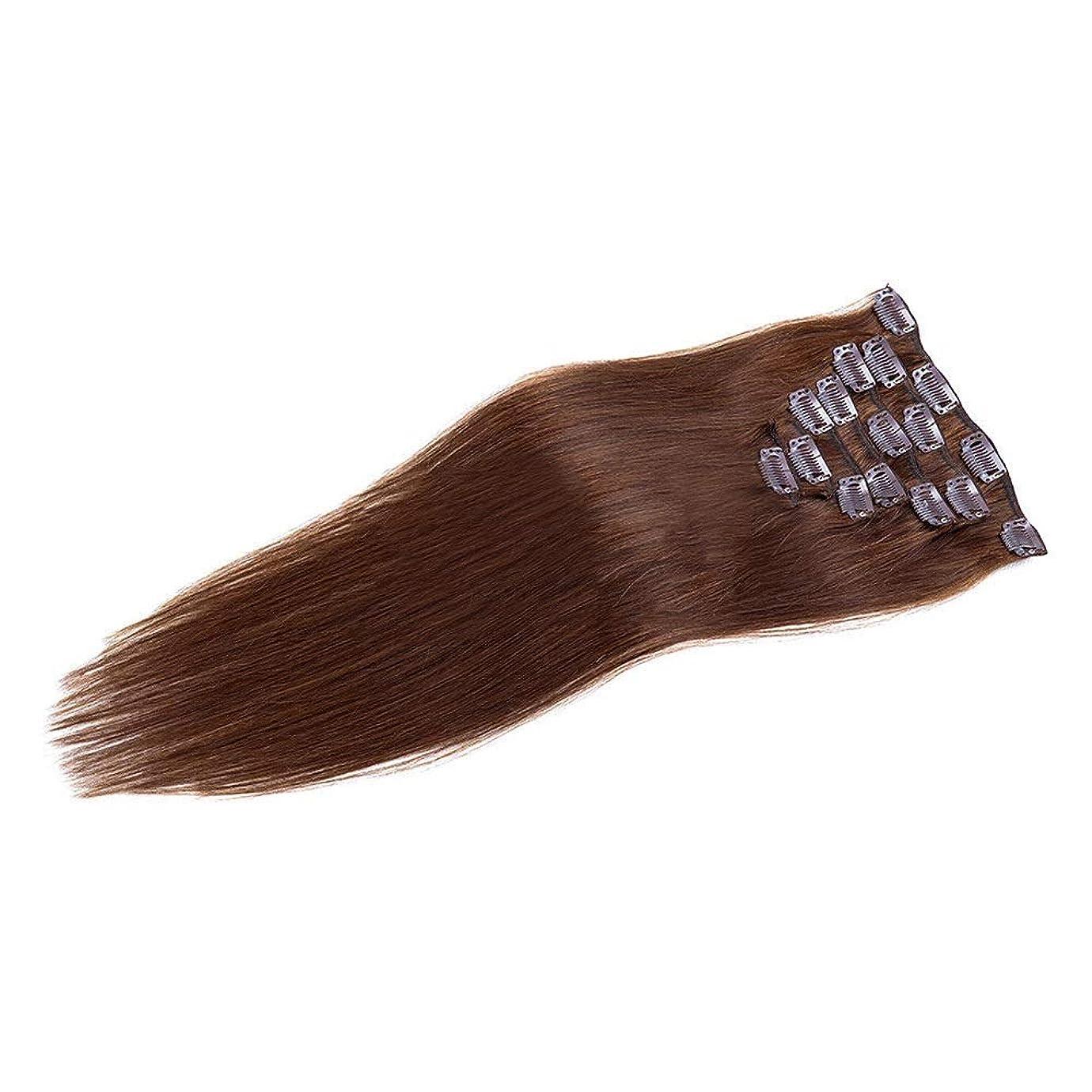 肺炎文化ボードHOHYLLYA 20インチヘアエクステンション100%人毛クリップイン - #4ダークブラウン7個フルヘッドストレートロールプレイングかつら女性のかつら (色 : #4 dark brown)