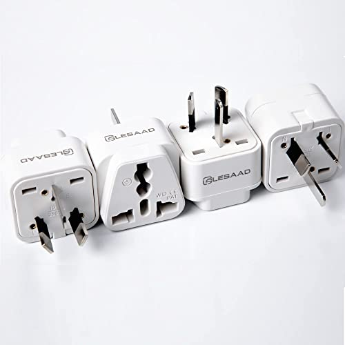 LESAAD Travel Adapter with Universal Safety Grounded 3-pin Power Plug inputs, for International use (UK / US to AU)… ...