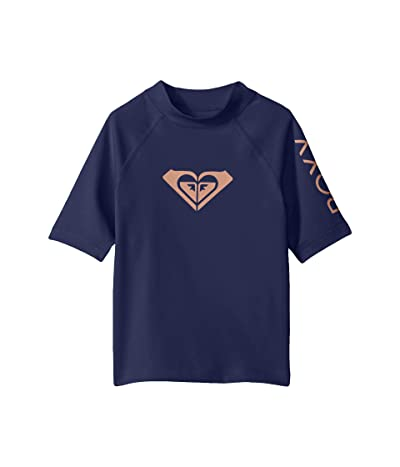 Roxy Kids Whole Hearted Short Sleeve Rashguard (Big Kids) (Medieval Blue) Girl
