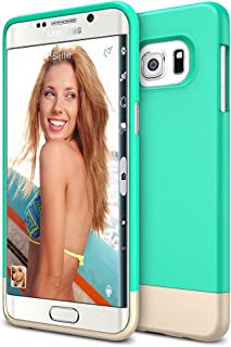 Galaxy S6 Edge Plus Case, Maxboost [Vibrance Series] for Samsung Galaxy S6 Edge+ 2015 Protective Soft-Interior Scratch Protection [Slider Style] - Turquoise/Champagne Gold