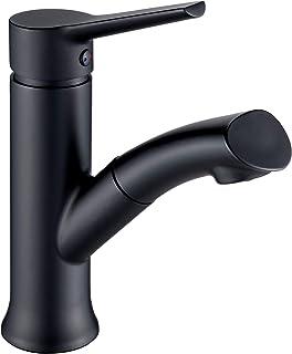 LONHEO schwarz Waschtischarmatur mit herausziehbarer Handbrause, moderner Bad Wasserhahn, Waschbeckenarmatur ideal zum Haarewaschen.