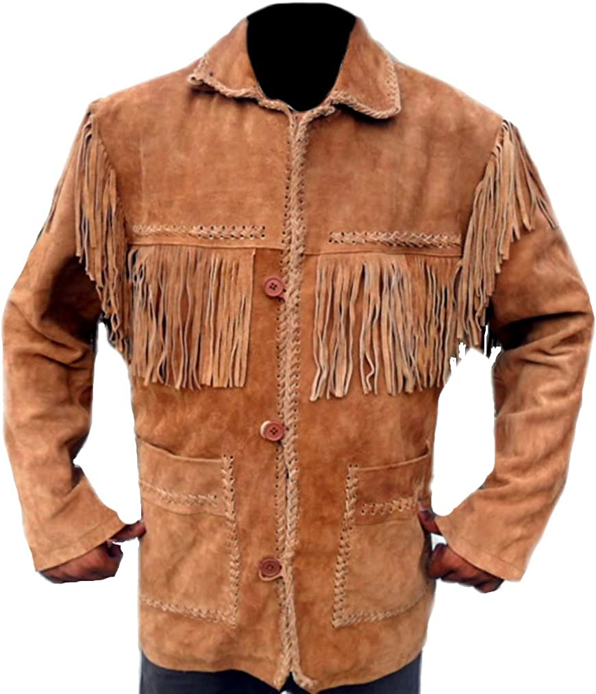 coolhides Men's Finged Cowboy Western Leather Coat
