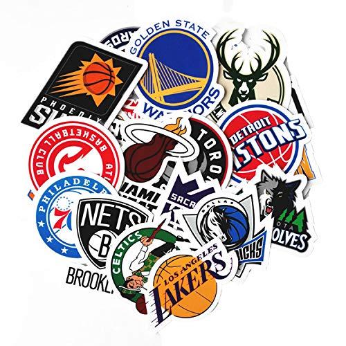 30 Stück NBA Aufkleber Basketball Team Logo Set Lustige kreative DIY Aufkleber Aufkleber Packs für Wasserflasche Laptop Handy Skateboard Fahrrad Motorrad Auto Stoßstange Gepäck