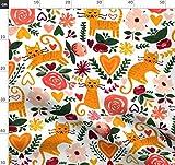 Orange, Grün, Kastanienbraun, Katze, Tier Stoffe -