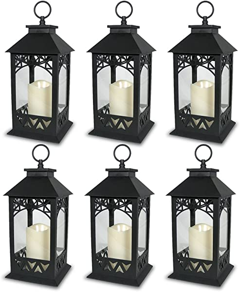 BANBERRY DESIGNS Black Plastic Decorative Lantern LED Pillar Candle With 5 Hour Timer Roof And Hanging Ring 13 H Pack Of 6