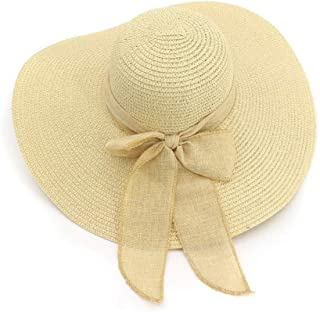 SXQ Summer Handmade Straw Hat Women's Outdoor Travelling Wide-brimmed Beach Hat Ladies' Sun Hat With Bow Ribbon Decoration Foldable Sunproof Straw Hat UV Protective Panama Hat Visor For Vocation Seasi