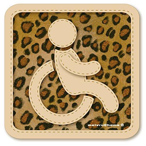 【マグネット】車椅子マーク マグネット ステッカー/ヒョウ柄 ひょう柄 アニマル柄 福祉車両 車いす 車イス 身障者マーク(豹柄)