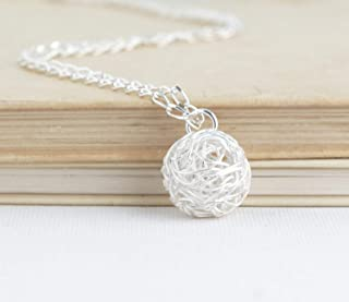 Sterling Silver Ball of Yarn Necklace - 20 Inch Chain