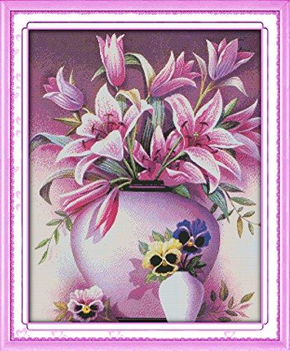 YEESAM ART Nouveau Point de Croix Kits de Broderie au Avancée - Rose Pink Lily lis Une Fleur 14 Comptage 53×65 cm Blanc Toile - Travaux d'aiguille Noël Cadeaux