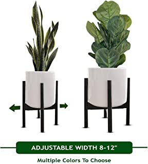 MT Decor Mid Century Plant Stand | Adjustable Modern Indoor Plant Holder | Fits Medium to Large Planters Sizes 8 9 10 11 12 inches | Pot and Plant - NOT Included
