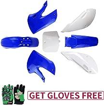 KLX110 Plastic Kit Fairing fender Kit for Kawasaki KX60 Suziki DRZ110 Pit Dirt Bike, Blue & White, Green Gloves