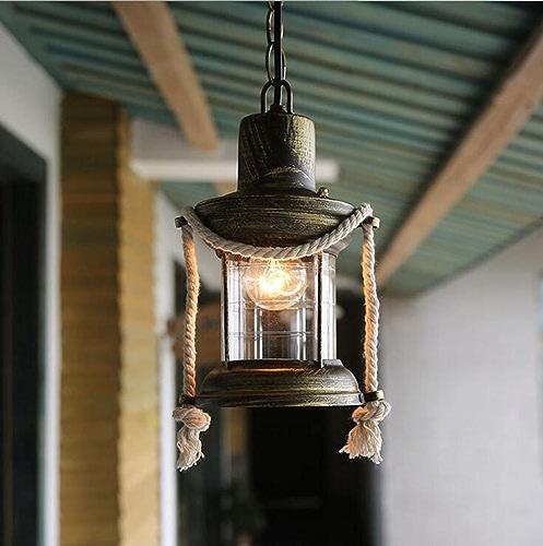 Loft Chandelier, Hemp lumières, Retro Nostalgia American Style Cafe Bar Ingénierie Lampes Iron Aisle petit Chandelier (Couleur    1-210  330mm)