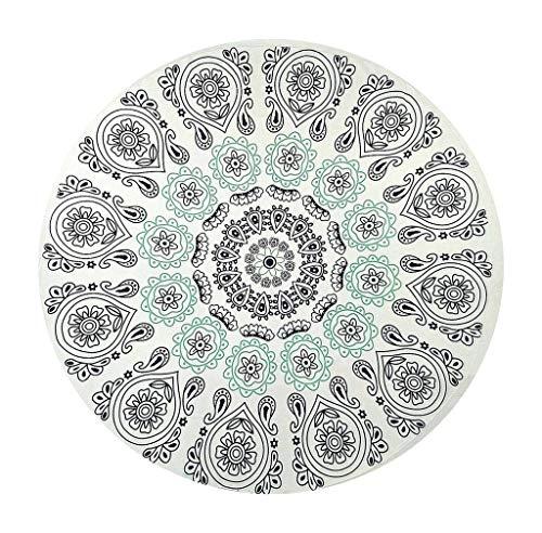 YiyiLai Serviette de Plage Mousseline de Soie Hippie Tapisserie Mandala Eté Couverture Ronde Bohémien Vert