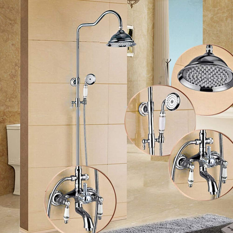 HUASAA Chrom In Wand Brausegarnitur Wasserhahn Messing Dual Keramik Griffe Bad Dusche Mischbatterien 8 Niederschlag mit Handbrause