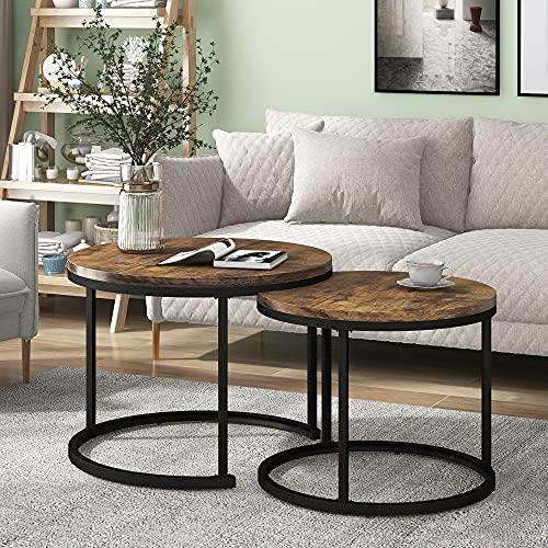 Juego de 2 mesas de café redondas, mesa auxiliar redonda con ranuras, 2 mesas auxiliares redondas (marrón)
