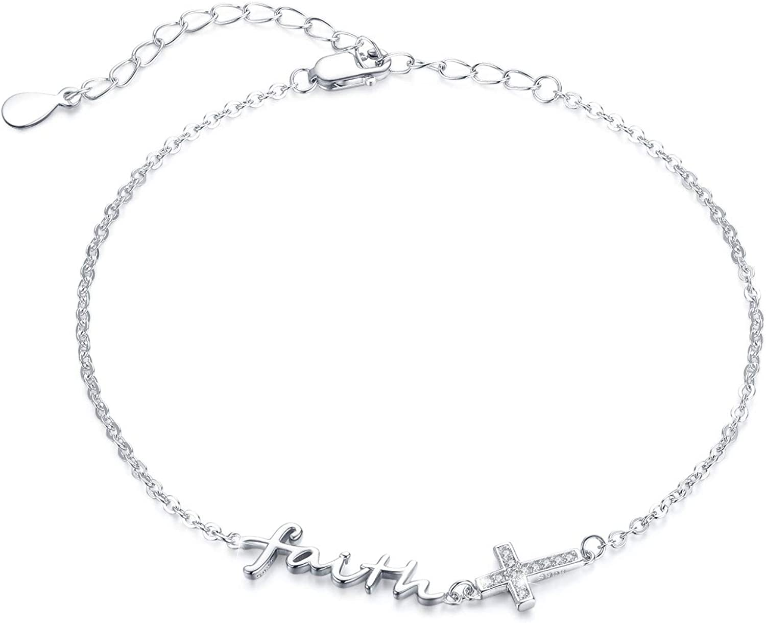 Faith Cross Bracelet 925 Animer and price revision Adjustable Sacramento Mall Anklet Silver Sterling
