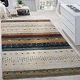 Paco Home Alfombra De Diseño Nómada Efecto Gabbeh Loribaft con Dibujo Beige Crema Jaspeada, tamaño:200x290 cm