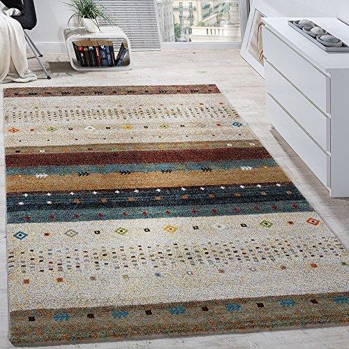 Paco Home Tappeto di Design Moderno Loribaft con Motivo Stile Nomade Effetto Gabbeh Beige Crema mélange, Dimensione:80x150 cm