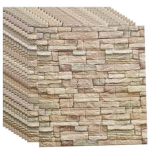 3D Brick Wandpaneele Selbstklebend Tapeten Wand Dekoration Retro Nostalgischer Ziegelstein Muster Tapete für Schlafzimmer, Wohnzimmer, TV-Wand, Haus Dekoration, 70 * 77CM(A10pcas) A,10pcs