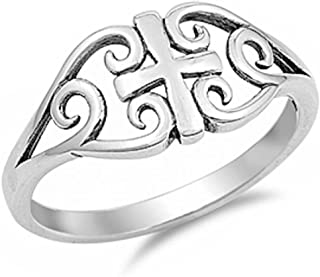 Cross Ring 925 Sterling Silver Filigree Celtic 4-10