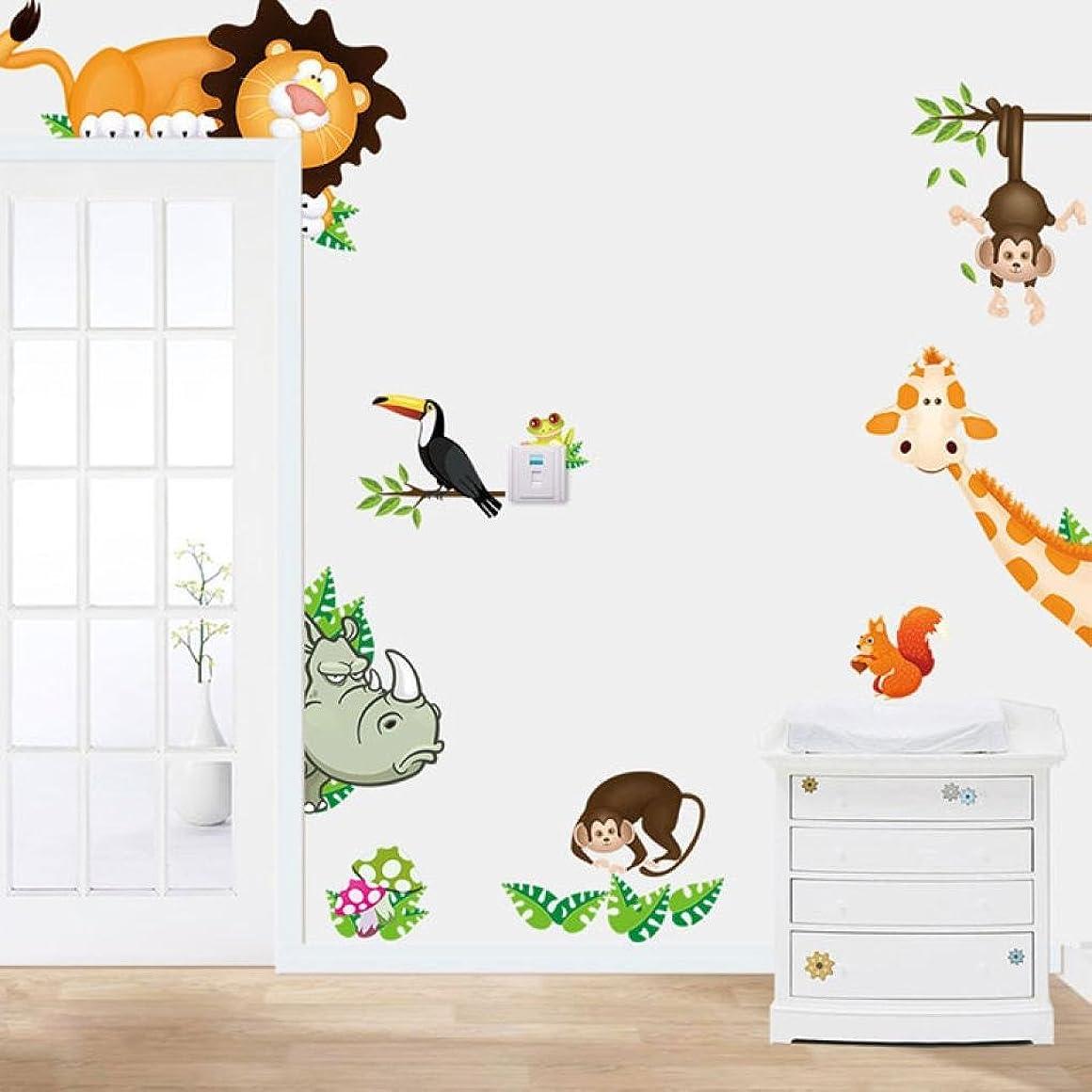 座標誕生再撮りレンコス(Lemcos) ウォールステッカー  ジャングルの動物  子供 ベビー部屋 保育園 PVC 飾り 壁紙  シール DIYウォールステッカー インテリア 窓?ドア?壁 はがせる 北欧風 おしゃれ 部屋飾り