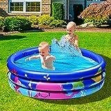 Joy joz Familie Pool, Kinderpool für Schwimmen Spielen Schlafen, Kinder Aufstellpool Planschbecken Aufblasbare Pool, Aufblasbare Badewanne, 3-Ring Embossing(120cm, Blau)